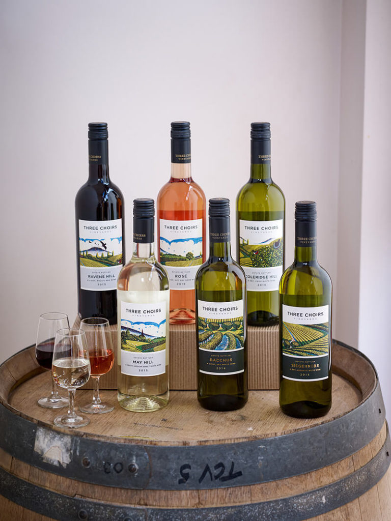 Variety of wines from Three Choirs Vineyards