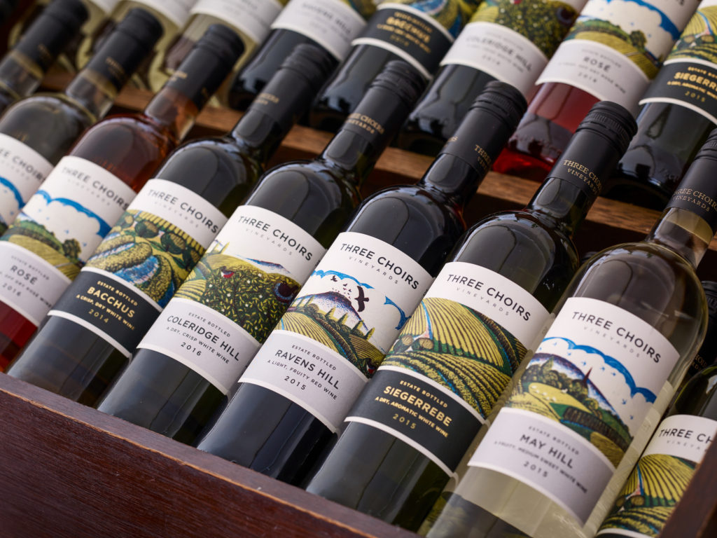 A selection of Three Choirs English wine