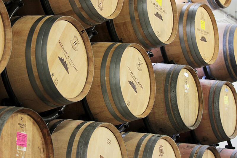 French and American Oak Barrels at The Winery at Three Choirs Vineyards Gloucestershire