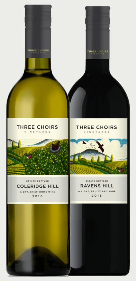 Two of Three Choirs Vineyards English wines - Coleridge Hill and Ravens Hill